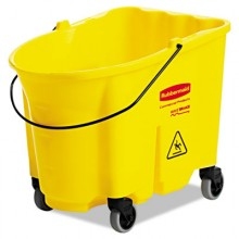 RCP 757088YEL 35 Quart YELLOW Wave Break Bucket With Casters Per Each