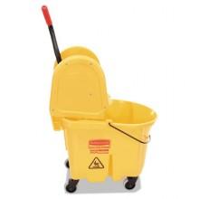 RCP 757788YW WaveBreak Combo 26-35 QT Bucket & Down Press Wringer Yellow Per Each WaveBreak Combo 26-35 QT Bucket & Down Press Wringer Yellow Per Each