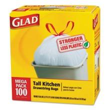 CLO 78526CT Clorox Glad Drawstring Tall Kitchen Liner 13 Gallon 4/100 Bags Per Case