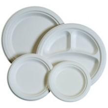 PRW PL09 9 Inch Earth Friendly Heavy Sugarcane Fiber Plates 500 Per Case
